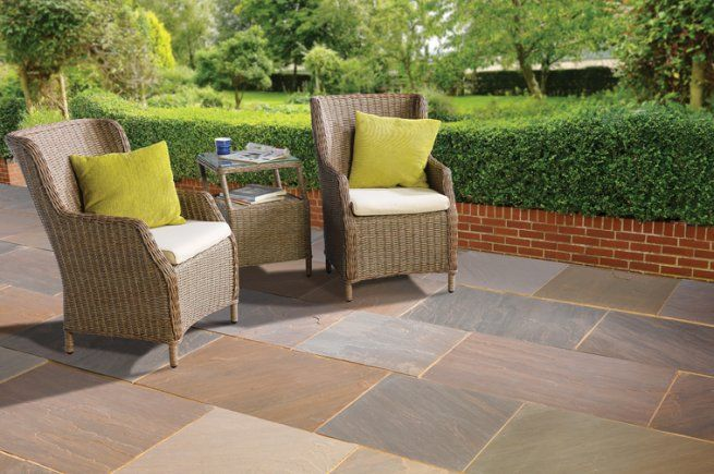 19 m² Chestnut Sawn Edge Patio Single size